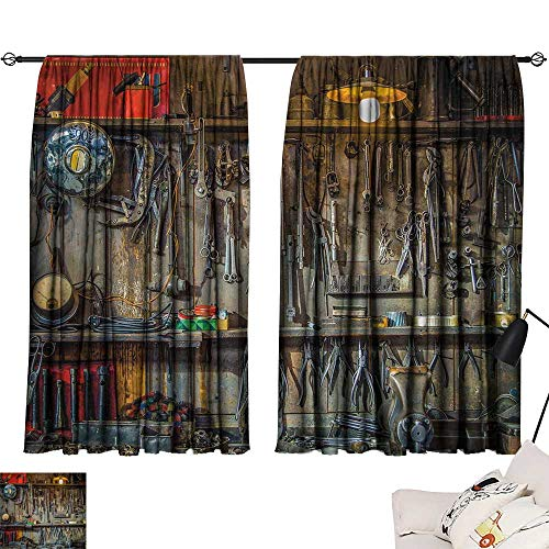 Ediyuneth Decorative Curtains for Living Room Man Cave Decor,Vintage Tools Hanging On A Wall in A Tool Shed Workshop Fixing Equipment,Multicolor 84
