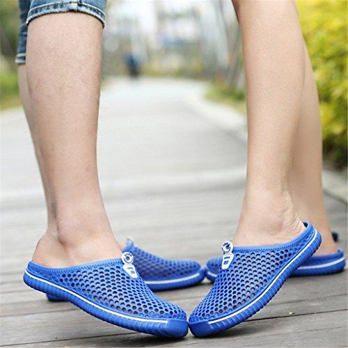 Sabots Mens Marche sur Été Casual Non Chaussures Doux Respirantes Léger Sandales Bleu Mode Garden Pantoufles Plage Dingcaiyi Appartements Chaussures Slip Slip Womens Travail wFqdtff