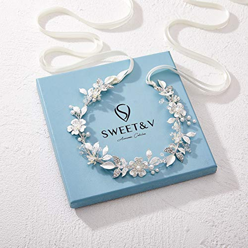 SWEETV Sliver Flower-Leaf Bridal Headpieces for Wedding Headband Bride Hair Pieces Crystal Flower Girl Hair Accessories