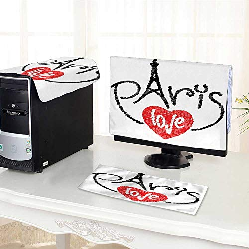 One Machine LCD Monitor Keyboard Cover Collection I Love Paris Theme with Eiffel Tower Silhouette in The Letters Hearts dust Cover 3 Pieces /32