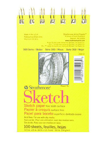 Strathmore 300 Series Sketch Pads 3 1/2 in. x 5 in. Wire Bound 100 Sheets [Pack of 6 ]