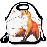 Reusable Lunch Bag Autumn Fox Food Handbag With Adjustable Strap Custom Lunch Holder Printed Lunch Tote Bag Multi-function Lunch Box Organizer For Adults And Kids