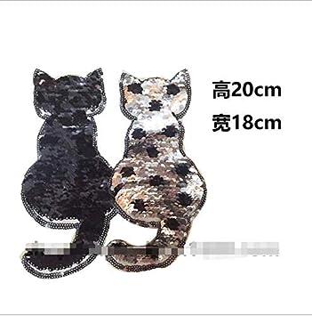 Parches de lentejuelas para coser o coser, reversibles, para gatos, 2019, con