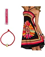 ACVIP Women's Flower Printed Halter Short Beach Dresses