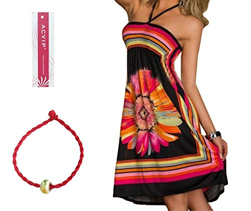 ACVIP Women's Flower Printed Halter Short Beach Dresses Black (XL)