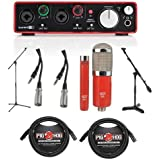 Focusrite Scarlett 2i2 2nd Gen 2 USB 2.0 Audio Interface - Bundle With MXL 550/551R Condenser Mic Kit Red, 2x 20' 8mm XLR Mic Cable, 2x 15ft 3-Pin XLR to TRS Cable, Mic Stand, Mini Boom Stand