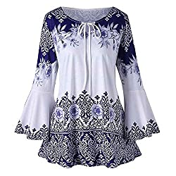 Hgwxx7 Women Plus Size Long Sleeve Printed Flare Sleeve T Shirt Blouse Tops S 5xl 4xl Blue