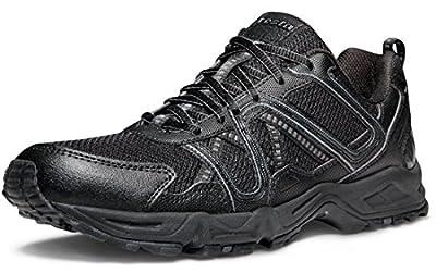 TSLA Men's Outdoor Sneakers Trail Running Shoe, All Around(x605) - Black & Green, 11