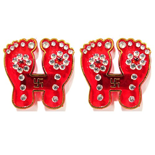 [Indian Fancy Hand Crafted Designer Red Laxmi Charan (Pagalia) with Swastik (Auspicious Hindu Symbols) - Stone Studded Acrylic Sticker for Floor or Wall Decoration - 1 Pair] (Auspicious Stone)