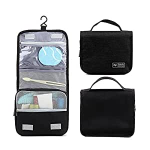 Toiletry Bag, Portable Folding Hanging Travel Toiletry wash Bag with S Hook,Travel Toiletry Bag Make up Cosmetic Organizers CompuClever Black