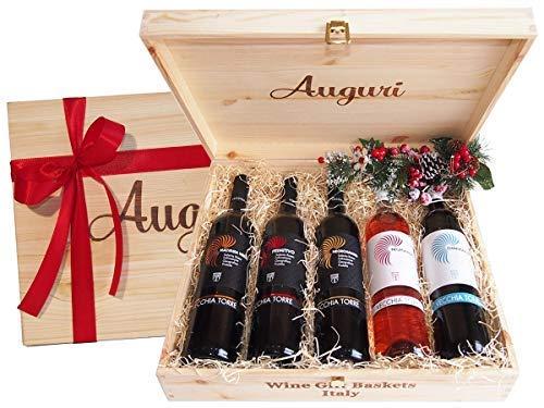 967659a762 Cassetta Regalo Auguri Migliori Vini Pugliesi più Famosi - Idea Regalo per  Amanti dell'Ottimo