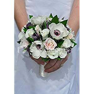 Gorgeous Fresh Touch Ivory Anemone and Purple Rose Bridesmaid Bouquet with Greenery 59