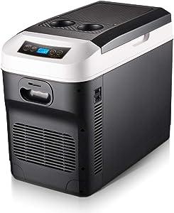 Pinzhi Compact Refrigerators Home 28L Refrigerator Dual-core Digital Display Temperature Control Vertical Dual-use 24V Truck / 12V Car / 220V Compact Refrigerators (Color : Black)