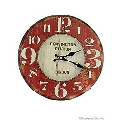 American Chateau Hanging Vintage Style Kensington Train Station Deco London Wall Kitchen Clock