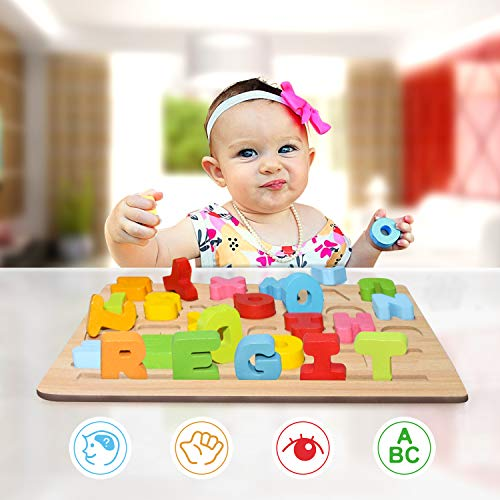 - zoordo Wooden Learning ABC Early Educational Toys Puzzle Children 3D Wood Alphabet Board for Baby Kids Children