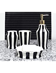 Tuscany Embossed Hand Painted Ceramic 4 Piece Bathroom Accessories Soap Dispenser Toothbrush Holder Toothbrush Cup Soap Dish By ACK Striped Black