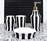 Tuscany Embossed Hand Painted Ceramic, 4-Piece Bathroom Accessories, Soap dispenser, Toothbrush Holder, Toothbrush Cup, Soap Dish by ACK (Striped Black)