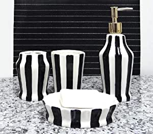Tuscany embossed hand painted ceramic 4 for Black and white striped bathroom accessories