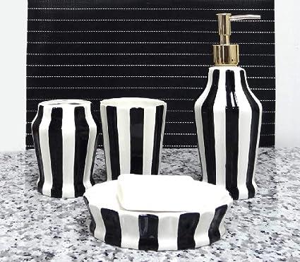 Tuscany cerámica pintado a mano grabado, 4 piezas, accesorios de baño dispensador de jabón