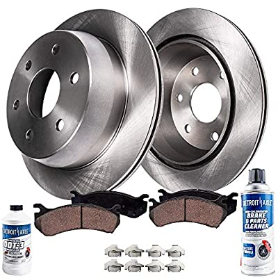 Detroit Axle - Pair (2) Rear Disc Brake Rotors w/Ceramic Pads, Hardware & Brake Cleaner & Fluid for 14-19 Escalade ESV, Silverado, Sierra 1500, Suburban, Yukon, Tahoe - See Fiment: Automotive