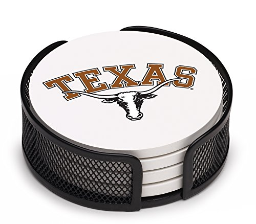 Thirstystone VUTX-HA17 Stoneware Drink Coaster Set with Holder, University of (Texas Longhorns Coaster Set)