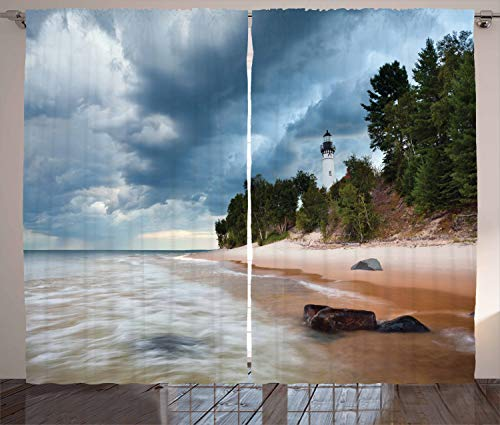 Ambesonne Lighthouse Decor Collection, Au Sable Lighthouse in Pictured Rock National Lakeshore Michigan USA Picture, Living Room Bedroom Curtain 2 Panels Set, 108 X 84 Inches, Cloudy Blue Ivoy (Big Sable Lighthouse)