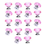 18 Pack Knobs Yazer Crystal Snap on Cabinet Dresser Drawer Diamond 30mm Pulls and Handles with 1 Bag Screws (Pink)