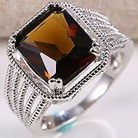 Jaywine2 4 CT Women 925 Silver Smoky quartz Topaz Ring Men Wedding Jewelry Size 7-9 (8)