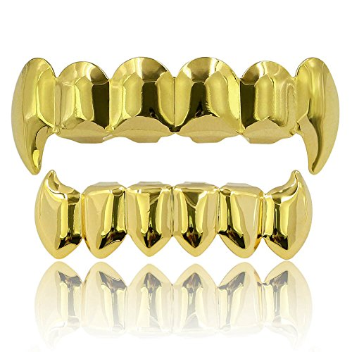 JINAO 18K Gold Silver Plated Hip Hop Vampire Fangs Teeth Grillz Set (Gold Grillz) -