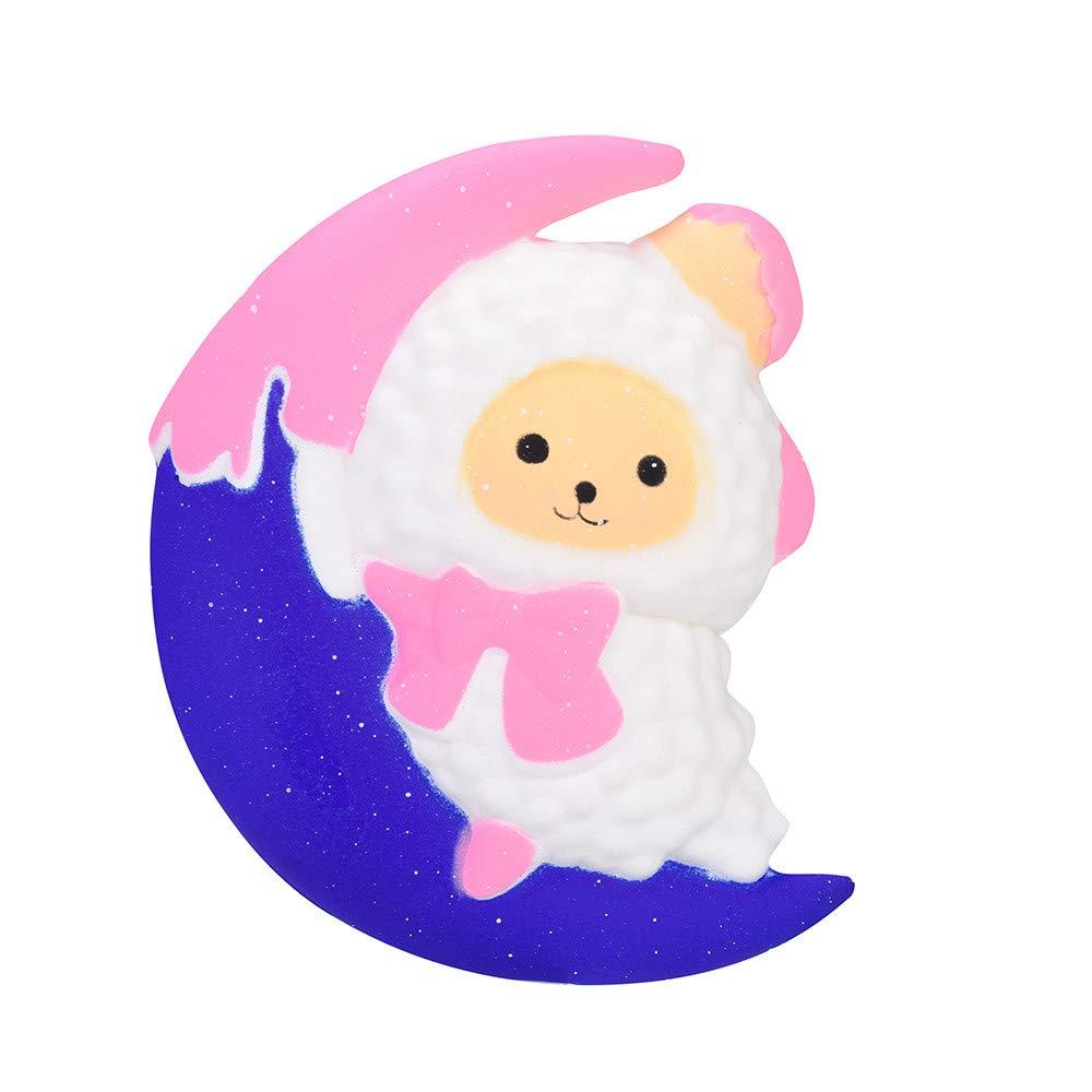 11.5CM 月 羊 スクイーズ おもちゃ 123ループ 月 シープ香り付き スクイーズ ゆっくり元に戻る 子供 おもちゃ ストレス解消 おもちゃ ホップ小道具 B07H8X2B32