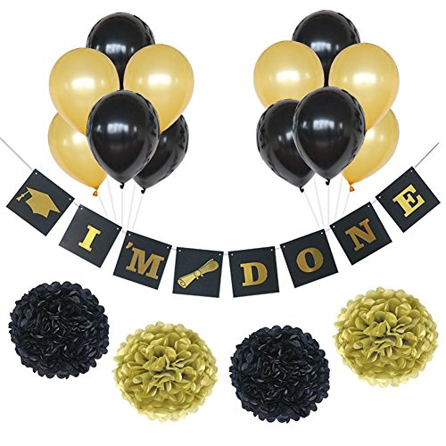 Fymural Graduation Party Supplies 2018 with Tissue Pom Poms Paper Flowers Balloon for USA College High School University Graduation Ceremony 17 PCS Table and Wall -