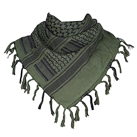 HDE Military Shemagh Neck Scarf Desert Tactical Style Head Wrap Keffiyeh Checkered Scarf (Army (Palestinian Scarf For Men)