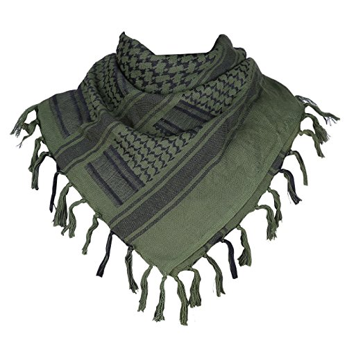 HDE Tactical Scarf Premium 100% Cotton Keffiyeh Shemagh Desert Wrap Head Neck Protective Cover Up (43x41 Inches)