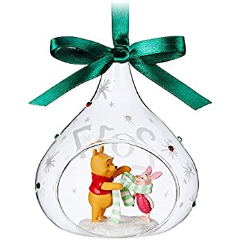 disney winnie the pooh and piglet glass drop sketchbook ornament 2017 - Winnie The Pooh Christmas Decorations