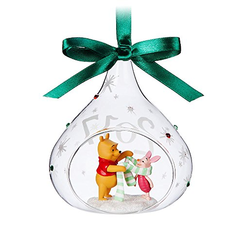 Disney Winnie the Pooh and Piglet Glass Drop Sketchbook Ornament - 2017 (Pooh Christmas The Winnie)