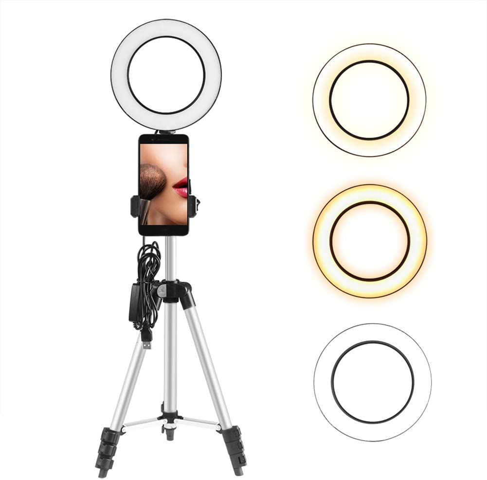 Gilroy Ring Light with Tripod Stand for Live Streaming Makeup Mini LED Camera Light with Cell Phone Holder Desktop LED Lamp Black