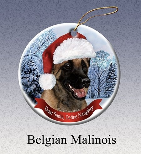 Define Naughty Belgian Malinois Ornament -