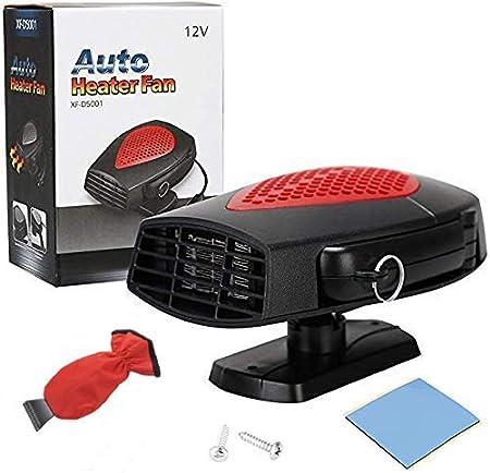 Chauffage de voiture antibu/ée 200 W 12 V avec prise allume-cigare portable 2 en 1 pour chauffage//refroidissement de voiture avec poign/ée ergonomique Noir
