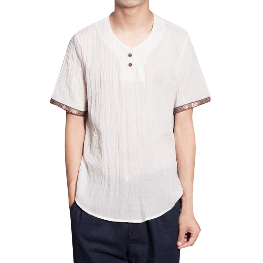 Men's T-Shirt, Men's Tops,Mens Men's Baggy Cotton Linen Solid Color Short Sleeve Retro T Shirts Tops Blouse White