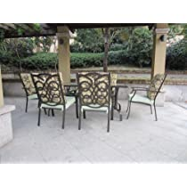 7pc Cast Aluminum Cushioned Patio Dining Set - Stacking Chairs