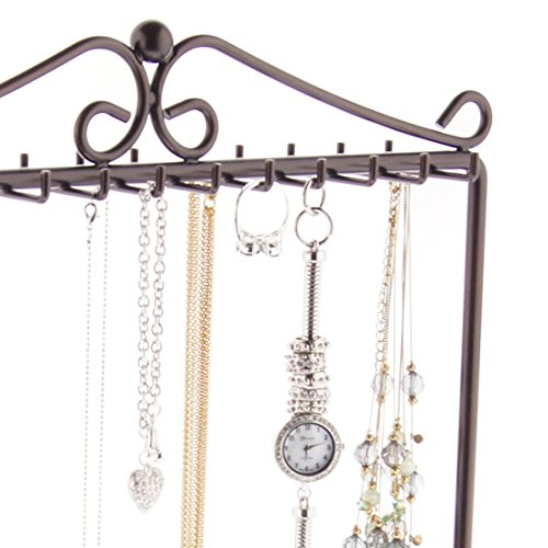 Angelynn's Necklace Holder Organizer Jewelry Tree Stand Storage Rack, Calla Rubbed Bronze by Angelynn's (Image #3)