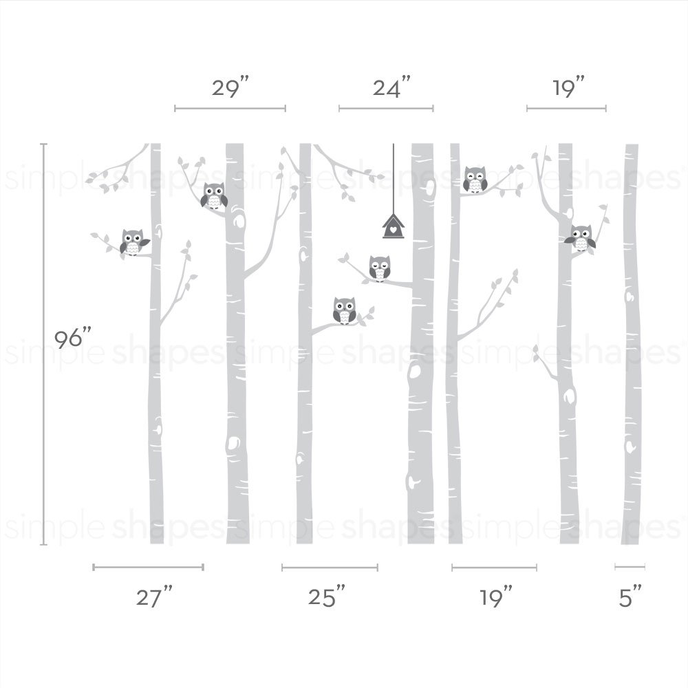 Birch Tree with Owl Wall Decal - scheme A - 96 (243 cm) Tall Trees - by Simple Shapes W1112-96A