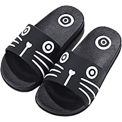 iDuoDuo Boy's Girl's Cool Cartoon Summer Slippers Anti-Slip Slide Sandals ( 1 M US Little Kid , Black (Cat) )
