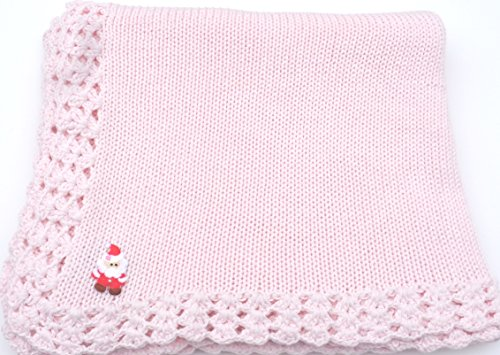 Knitted Hand Crochet Finished Pink Cotton Blanket Trimmed with Santa Applique