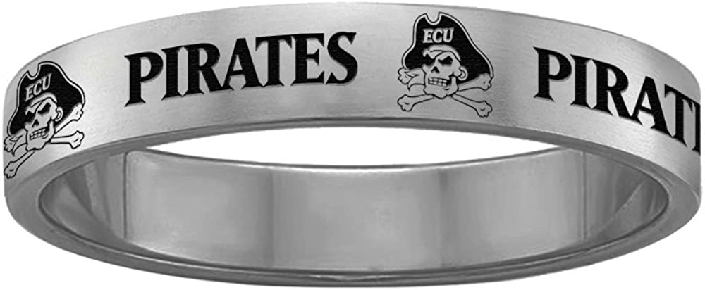 Full Logo Design 8 College Jewelry East Carolina Pirates Ring Narrow Style 4MM Wide Band