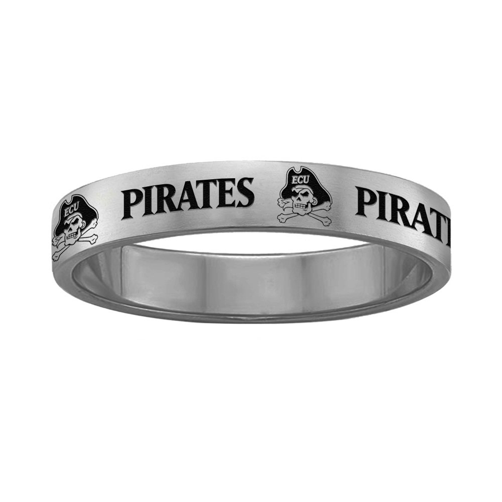 Full Logo Design College Jewelry East Carolina Pirates Ring Narrow Style 4MM Wide Band 6.5