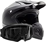Adult Offroad Helmet & Goggles Gear Combo DOT Motocross ATV Dirt Bike MX Flat Matte Black ( XL )