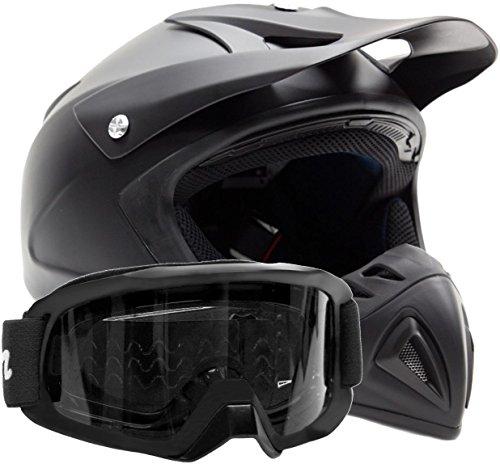 Adult Offroad Helmet & Goggles Gear Combo DOT Motocross ATV Dirt Bike MX Flat Matte Black ( Small (Dirt Bike Gear Combo)
