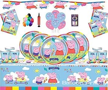 Gemma Peppa Pig Party Supplies Fiesta de cumpleaños Infantil para 16 Invitados Peppa Deluxe Party Vajilla con Globos y pancartas Peppa