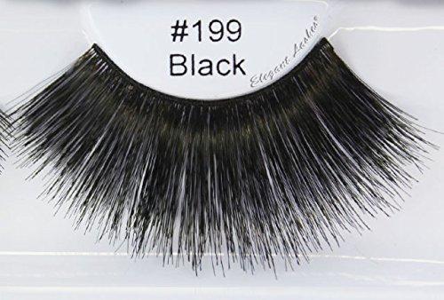 Amazon.com : Elegant Lashes #199 Black Thick Super-Long 100% Human ...